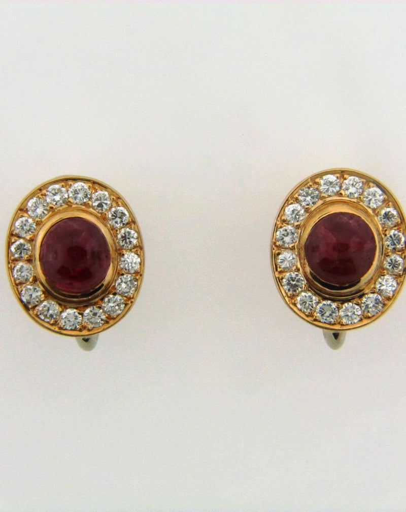 14K Yellow Gold Ruby and Diamond Earrings | 18 Karat Appraisers | Beverly Hills, CA | Fine Jewelry