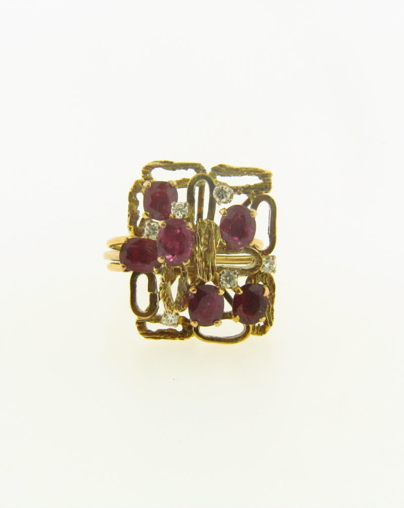14K Yellow Gold Garnet and Diamond Ring | 18 Karat Appraisers | Beverly Hills, CA | Fine Jewelry