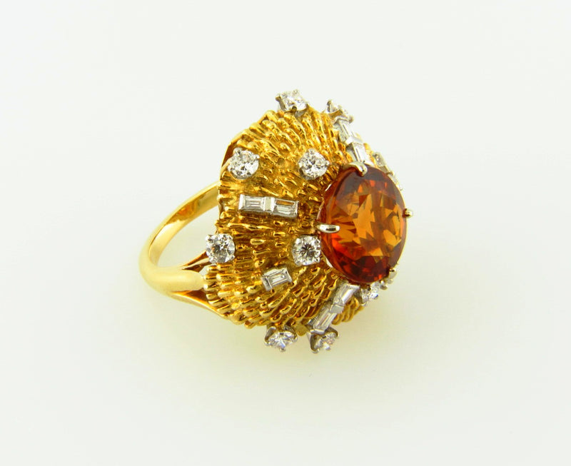 18K Yellow Gold and Platinum, Citrine and Diamond Ring | 18 Karat Appraisers | Beverly Hills, CA | Fine Jewelry