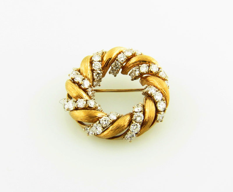 18K Yellow Gold, Diamond Brooch | 18 Karat Appraisers | Beverly Hills, CA | Fine Jewelry