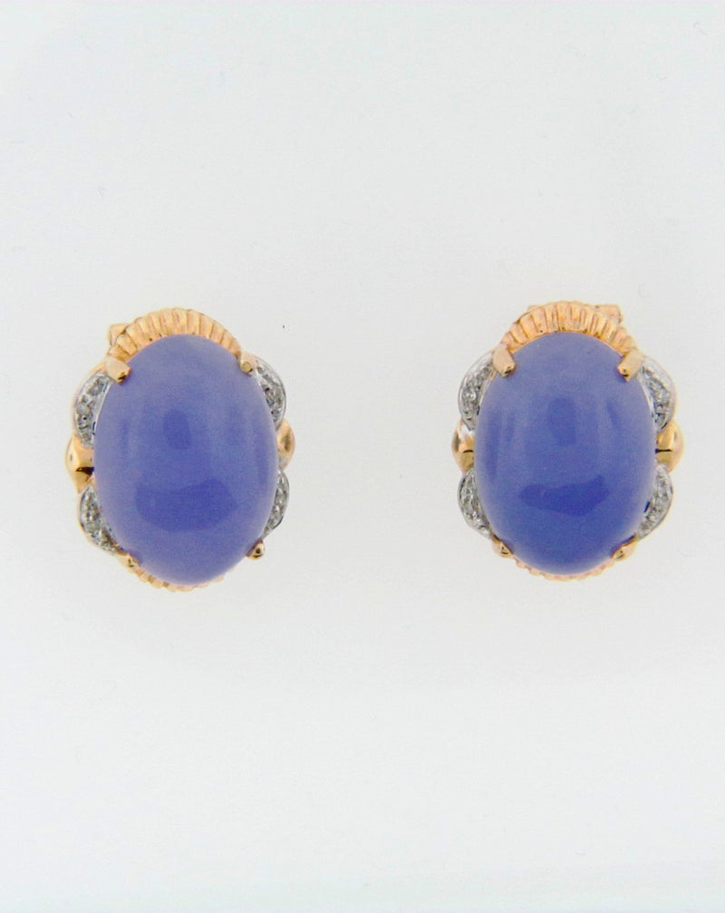 14K Yellow Gold Violet Jade and Diamond Earrings | 18 Karat Appraisers | Beverly Hills, CA | Fine Jewelry