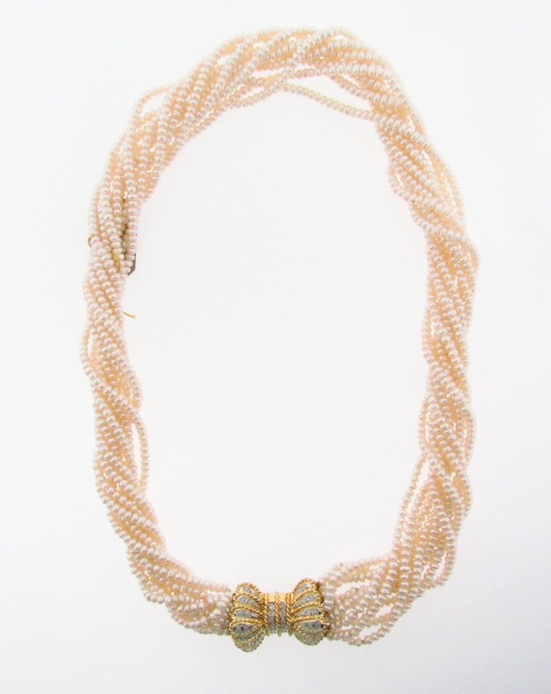 14K-YG Diamond and Pearl Necklace | 18 Karat Appraisers | Beverly Hills, CA | Fine Jewelry