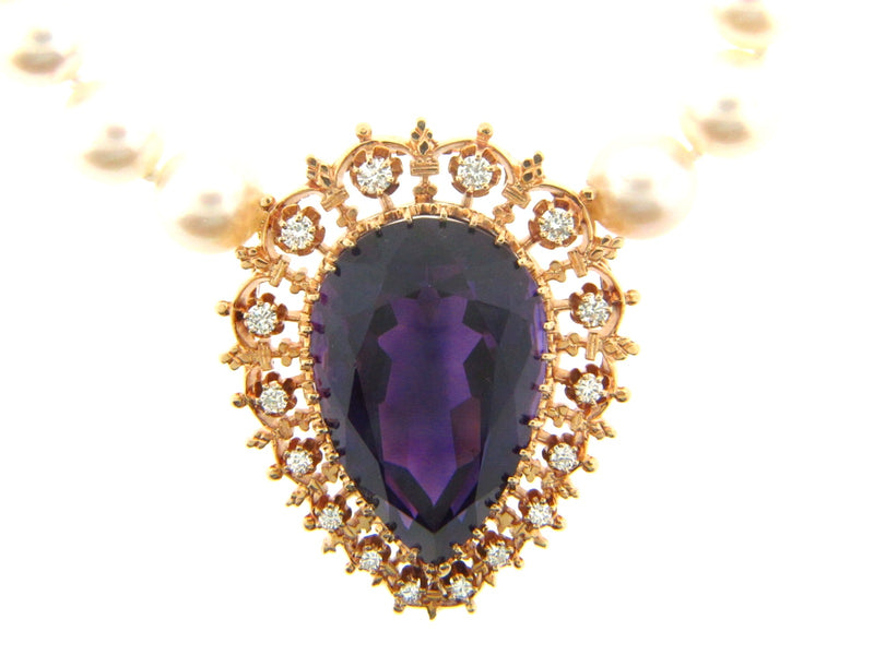 14K Yellow Gold Amethyst and Diamond Pear Necklace / Pendant | 18 Karat Appraisers | Beverly Hills, CA | Fine Jewelry