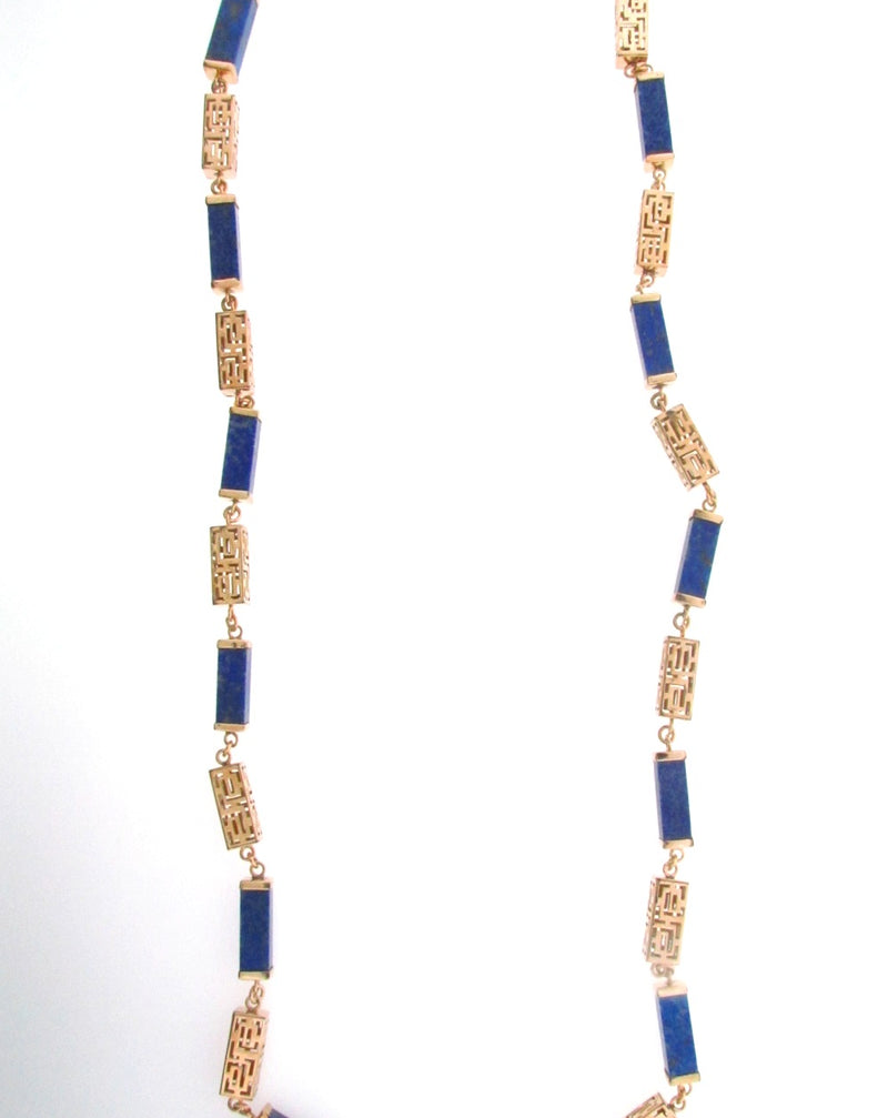 14K Yellow Gold Sodalite Necklace | 18 Karat Appraisers | Beverly Hills, CA | Fine Jewelry