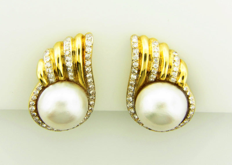 14K Yellow Gold, Pearl and Diamond Earrings | 18 Karat Appraisers | Beverly Hills, CA | Fine Jewelry