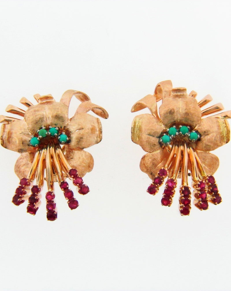 18K-YG+RG RUBY AND TURQUOISE FLOWER EARCLIPS