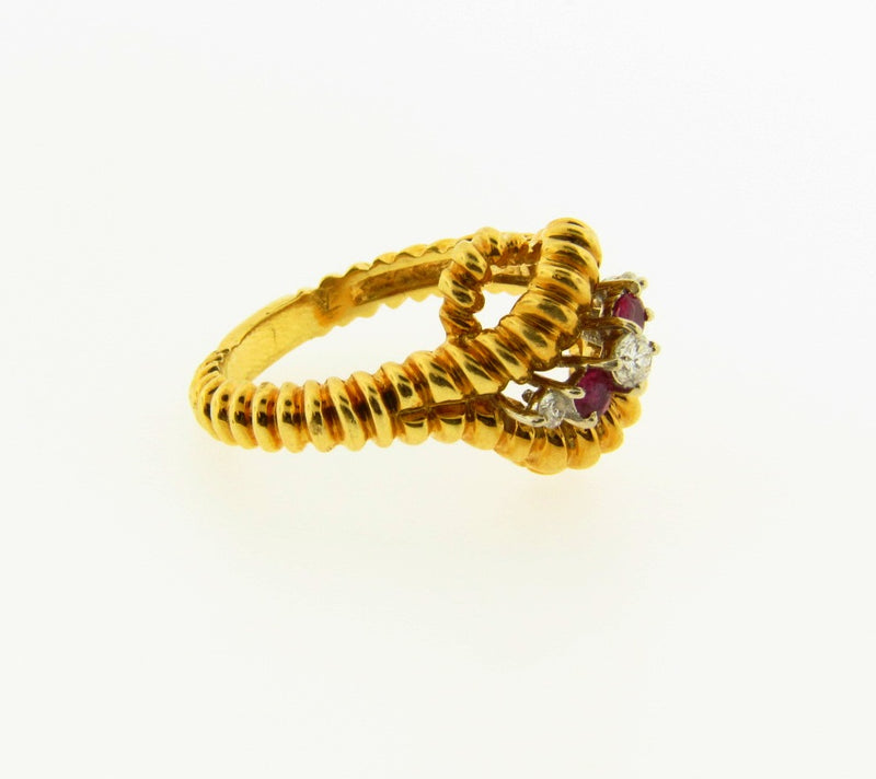 18K Yellow Gold, Diamond and Ruby Ring | 18 Karat Appraisers | Beverly Hills, CA | Fine Jewelry