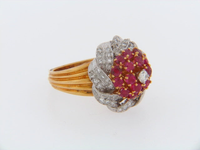 18K-YG RUBY AND DIAMOND RING