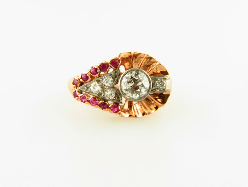 Retro 14K Rose Gold, Diamond and Ruby Ring | 18 Karat Appraisers | Beverly Hills, CA | Fine Jewelry