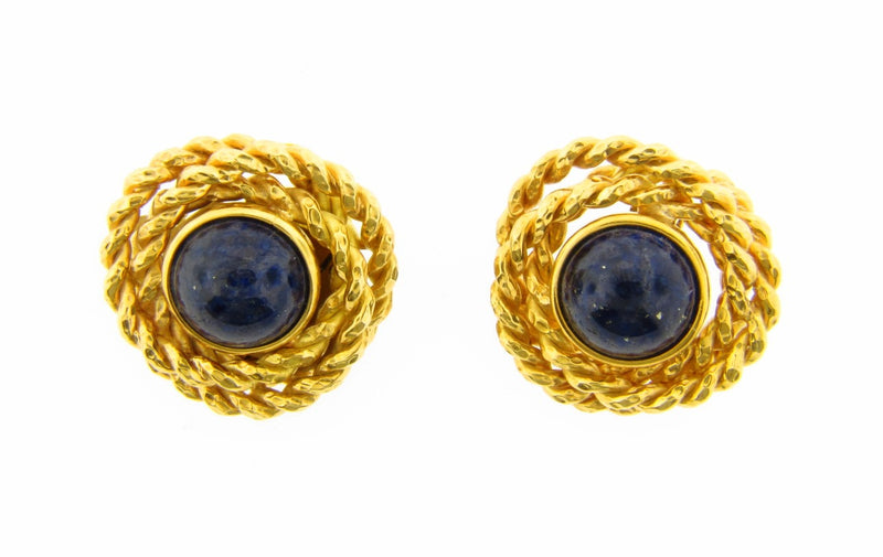 18K Yellow Gold, Lapis Lazuli Earrings | 18 Karat Appraisers | Beverly Hills, CA | Fine Jewelry