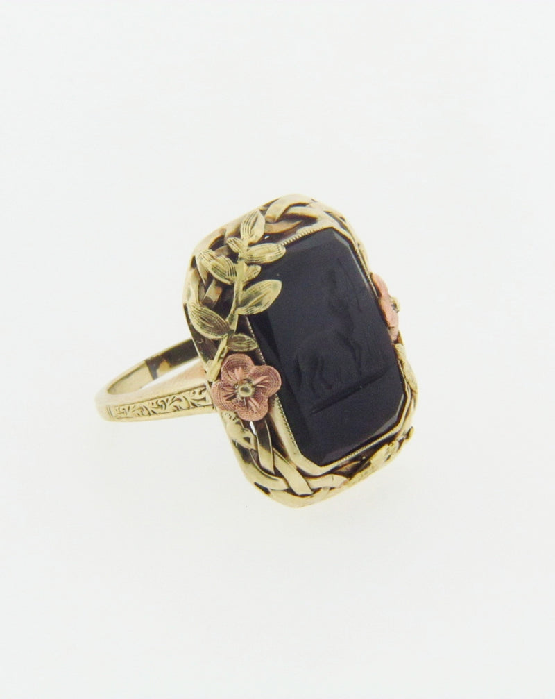 14K Yellow Gold Onyx Intaglio Ring | 18 Karat Appraisers | Beverly Hills, CA | Fine Jewelry