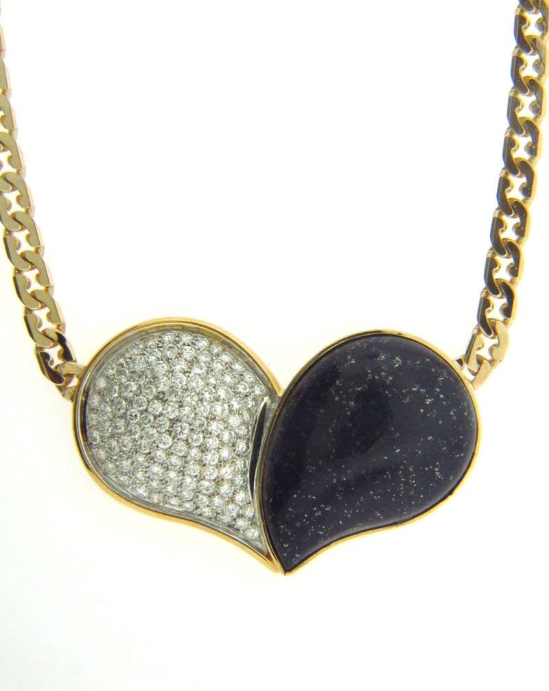 18K + 14K-YG, LAPIS LAZULI AND DIAMOND HEART PENDANT | 18 Karat Appraisers | Beverly Hills, CA | Fine Jewelry