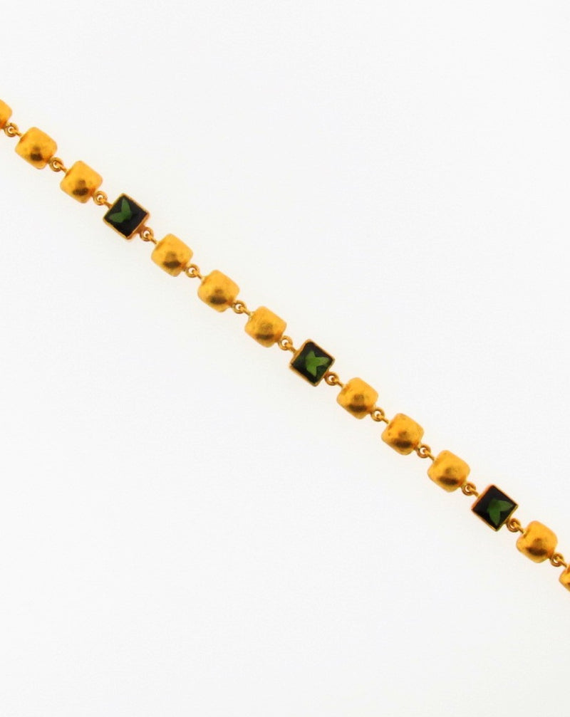 24K Yellow Gold Green Tourmaline Bracelet