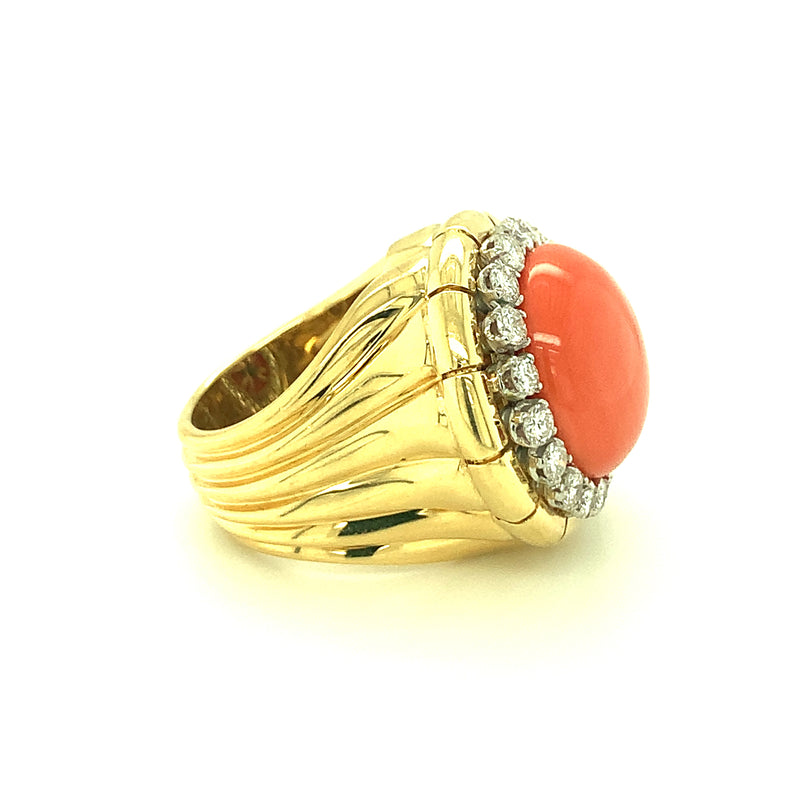 18K-YG CORAL AND DIAMOND RING