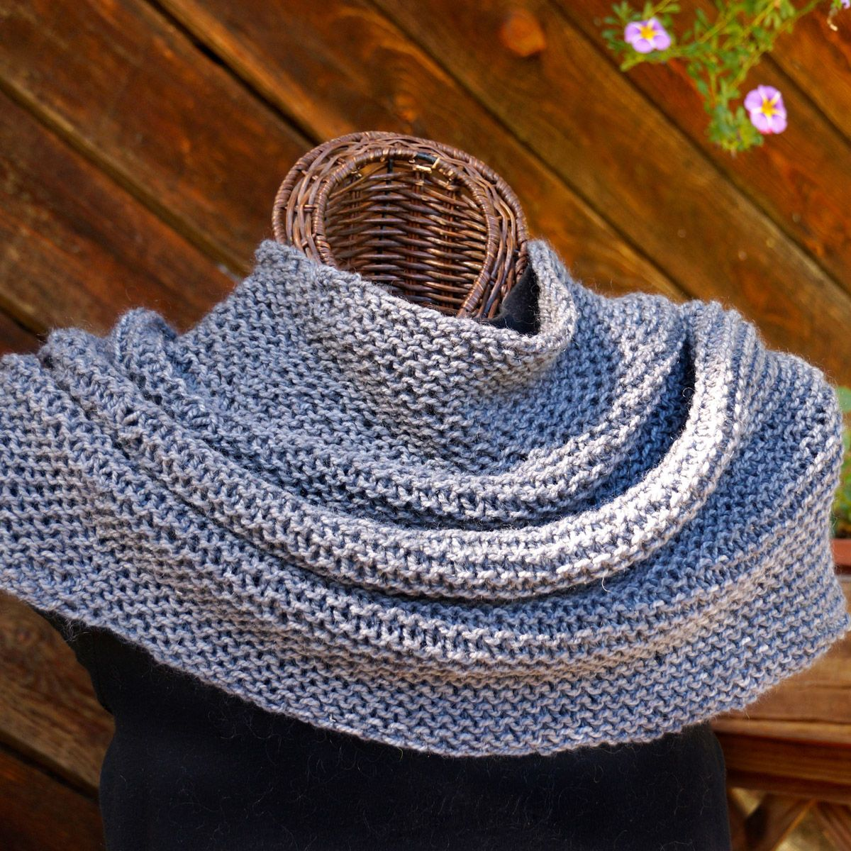 "Hand Knit Shoulder Cozy: shown in ""Natural Gray"""