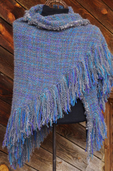 Winter Sky HandWoven Shawl -- available !