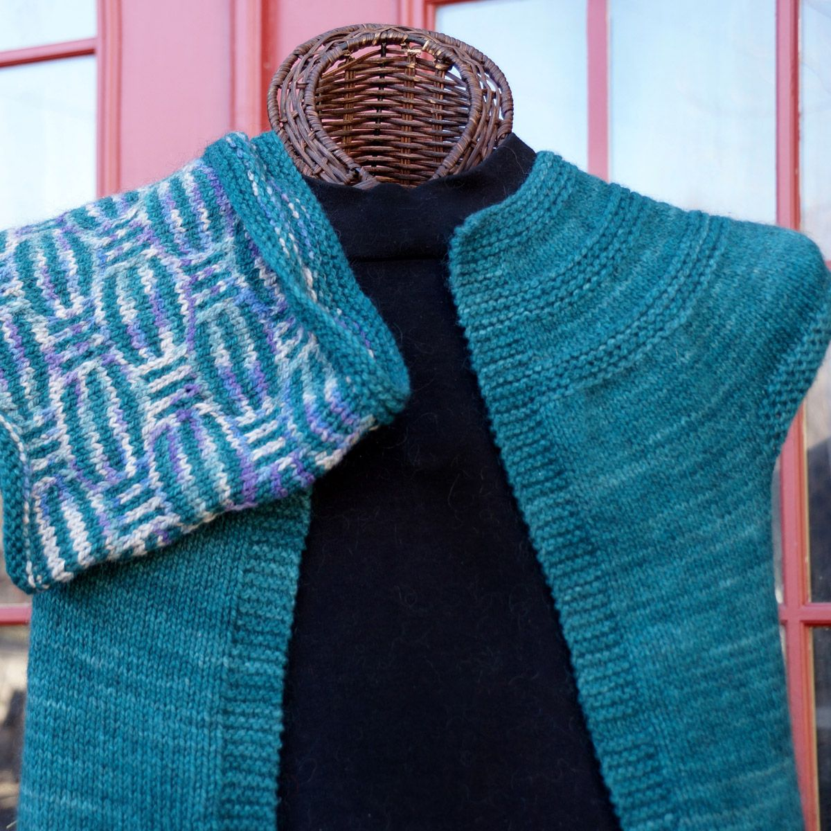 "Hand Knit Open Vest, shown in ""Teal"""