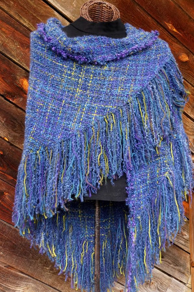 Annie's Pansies HandWoven Shawl -- in stock !
