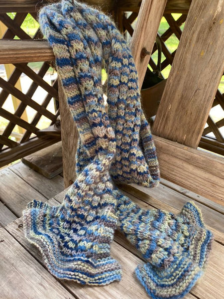 "Hand Knit ""My Blue Ridge"" Scarf"