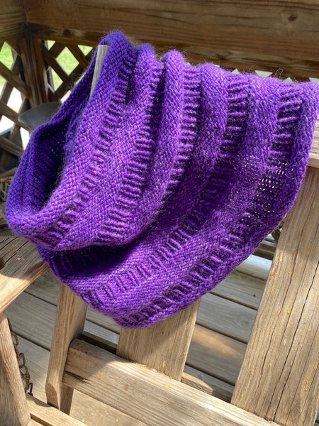 "Hand Knit ""Jacob's Purple"" Cowl"