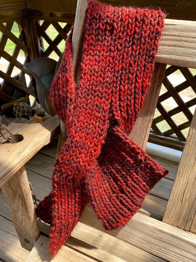"Hand Knit ""Burning Embers"" Neck Wrap"