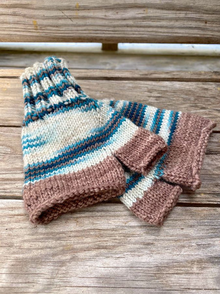 "Hand Knit ""Flowing"" Fingerless Mittens"