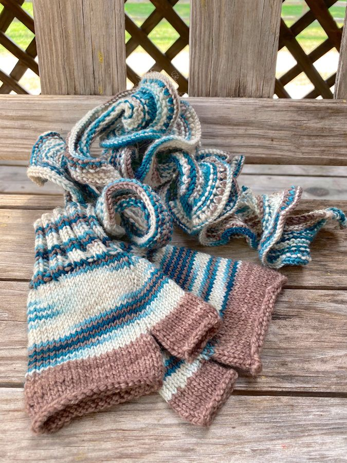 "Hand Knit ""Flowing"" Scarf & Fingerless Mittens Combo"