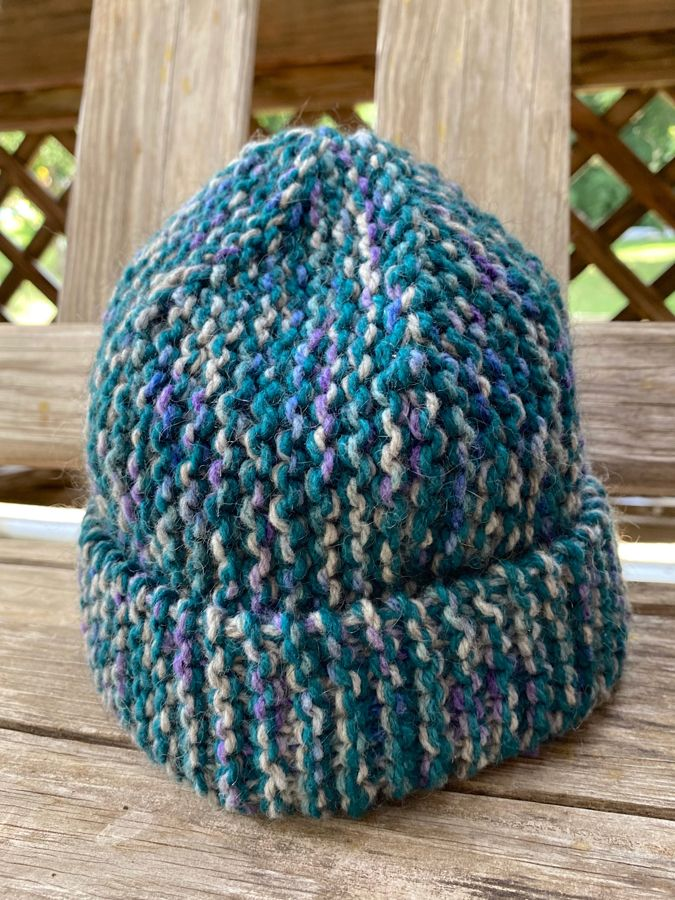 "Hand Knit ""Teal&Purple"" Hat"