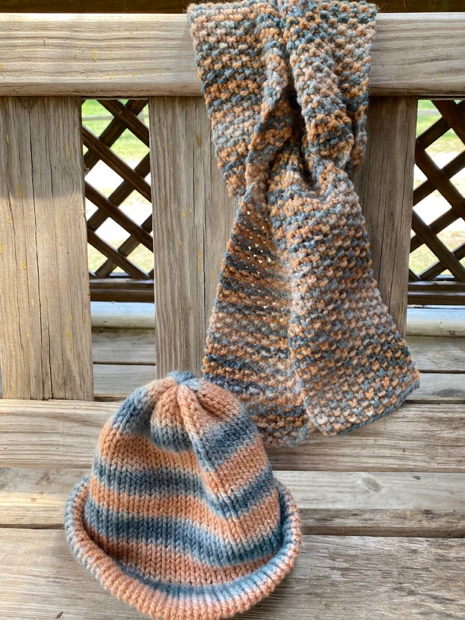 "Hand Knit ""Serendipity"" Skinny Scarf & Hat Combo"
