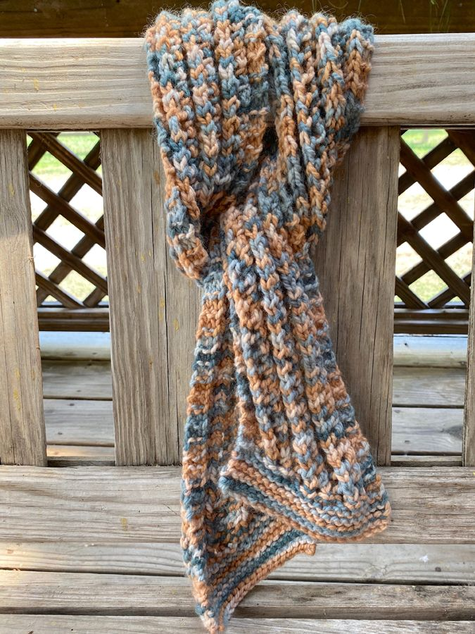 "Hand Knit Ribbed ""Serendipity"" Scarf"