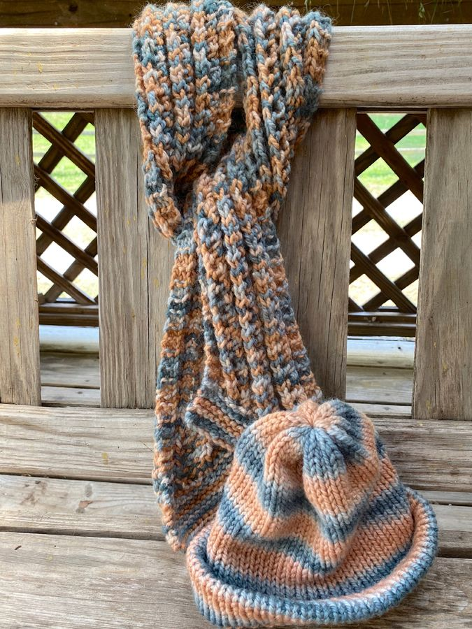 "Hand Knit Ribbed ""Serendipity"" Scarf & Hat Combo"