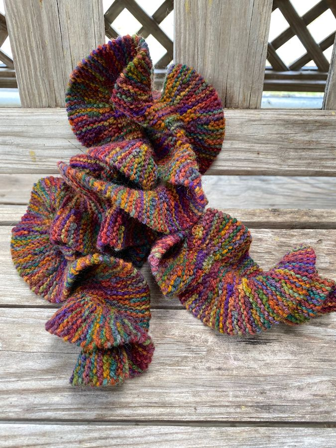 "Hand Knit Rippled ""Jacob's Coat"" Scarf"
