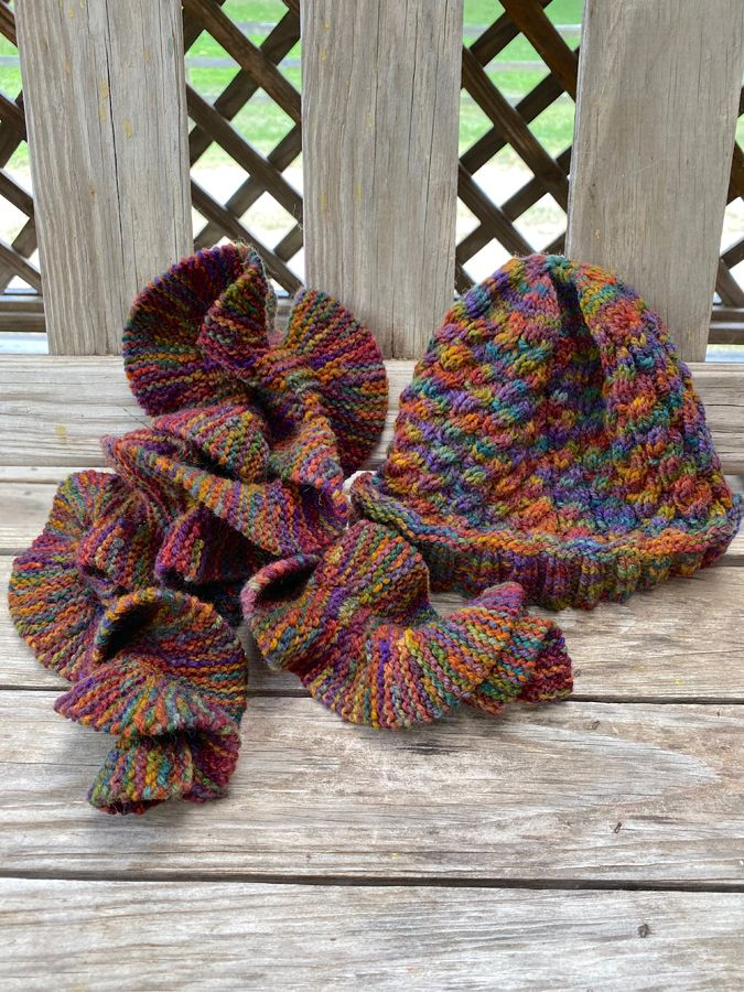 "Hand Knit Rippled ""Jacob's Coat"" Scarf & (#1) Hat Combo"