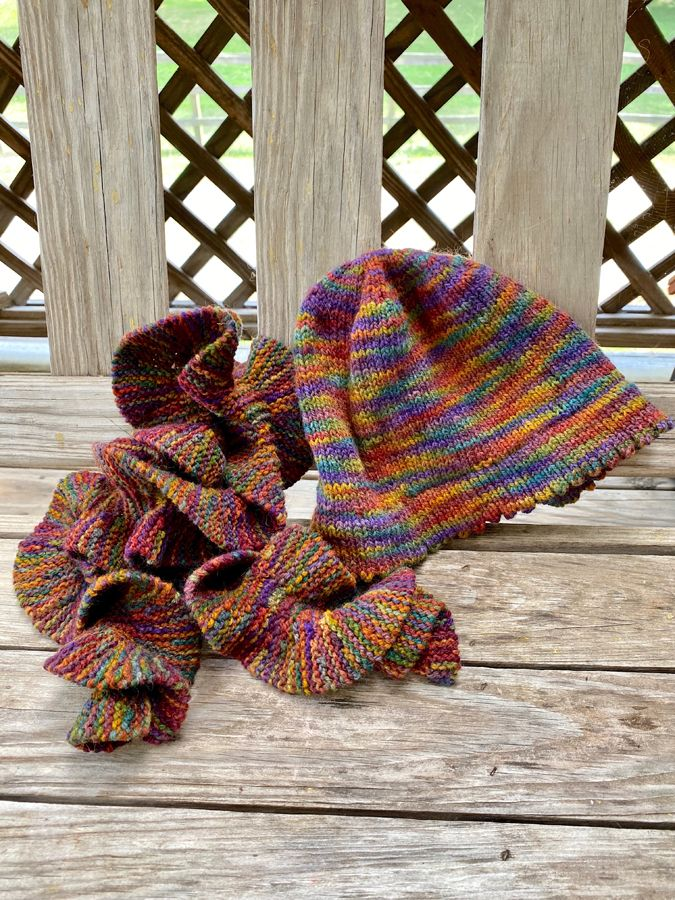 "Hand Knit Rippled ""Jacob's Coat"" Scarf & (#2) Hat Combo"