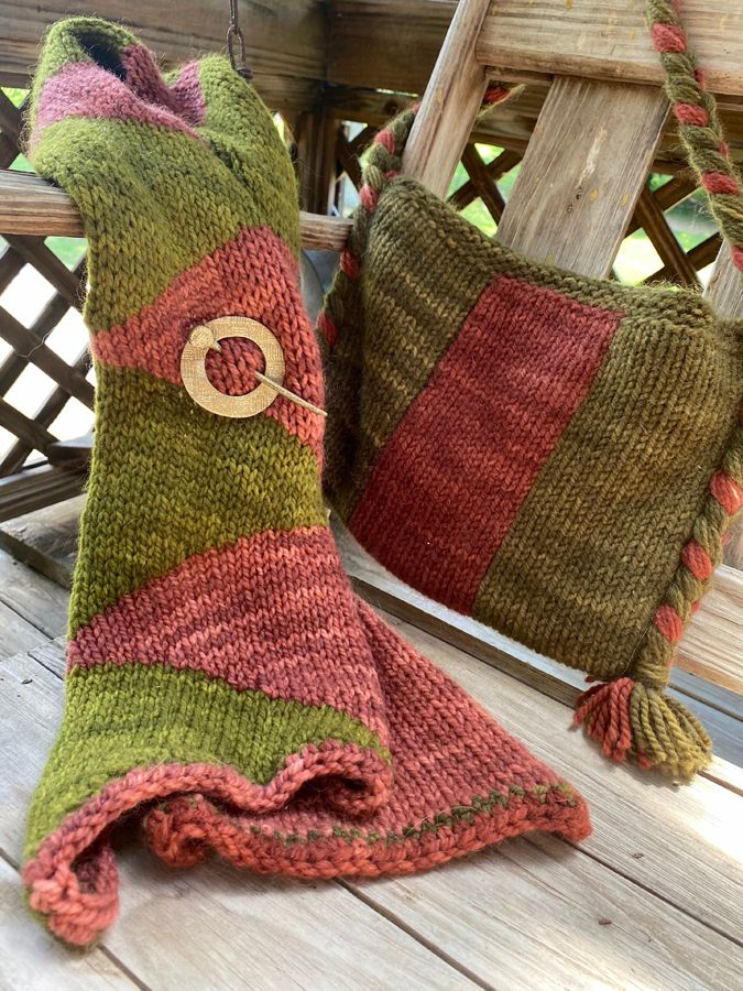 Hand Knit Bag and Scarf Combo