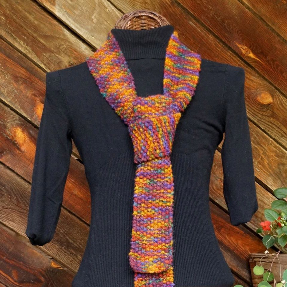 Hand Knit Skinny Tie: shown in: Joseph's Coat of Many Colors""