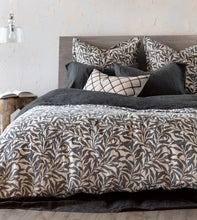 Camilla 100% Stonewashed Linen Warm Gray Botanical Knife Edge Duvet Cover