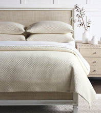 Ivory Geometric Rustic 100% Cotton Coverlet With Squared Corners