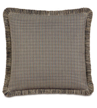 "Mocha Lodge Houndstooth Euro Sham With Brush Fringe 27""x27"""