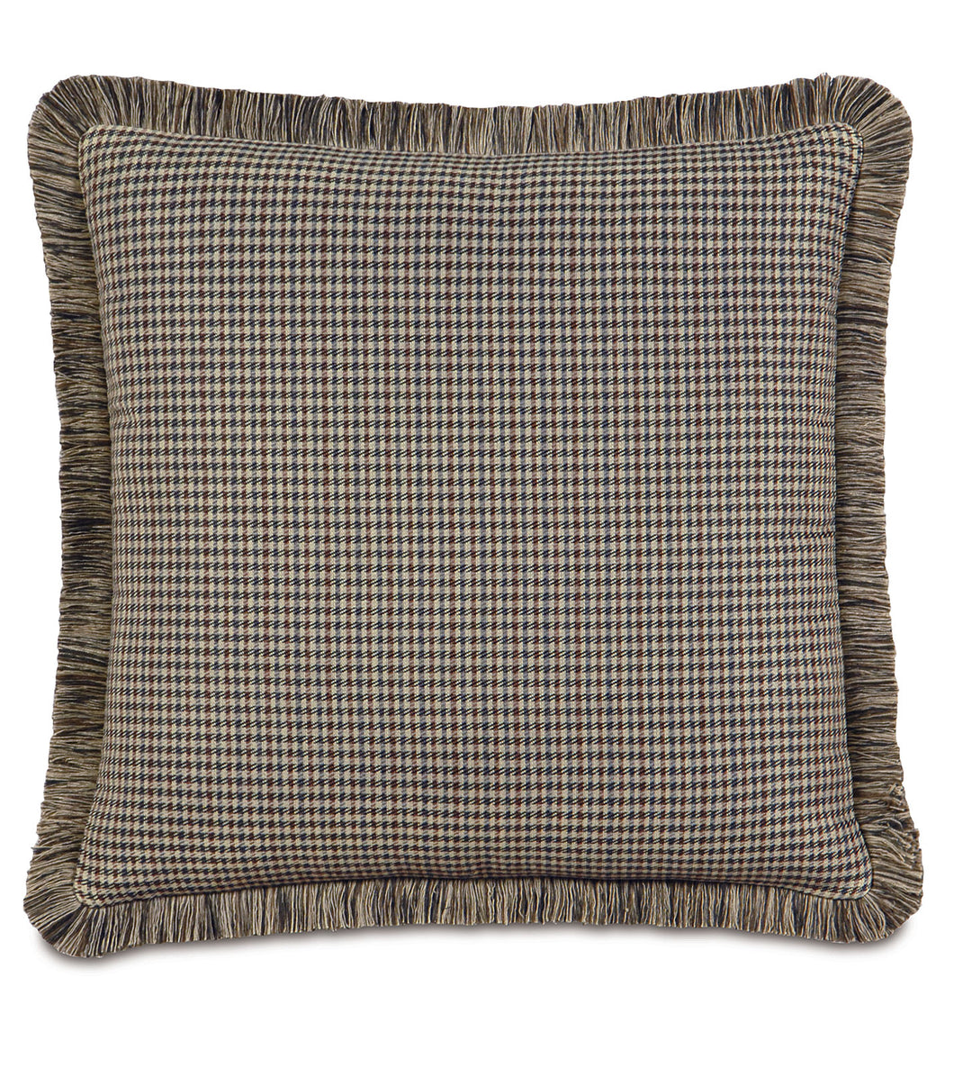 Mocha Lodge Houndstooth Euro Sham With Brush Fringe 27