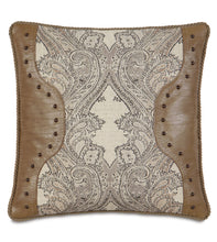 Aiden Damask Faux Leather Nailhead Accent Pillow in Neutral 22''×22''