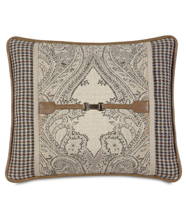"Aiden Rustic Buckle Accent Pillow in Neutral 15""x18"""