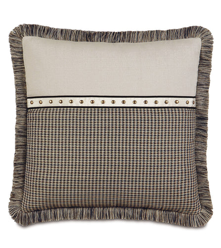 Beige Brown Houndstooth Studded Lodge Throw Pillow With Brush Fringe 24