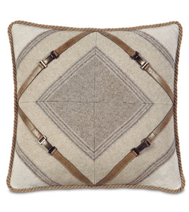 Aiden Lasercut Cord Accent Pillow in Neutral 18''×18''