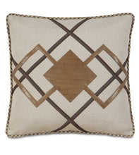 "Champagne Urban Lodge Geometric Faux Leather Throw Pillow With Cord 20""x20"""