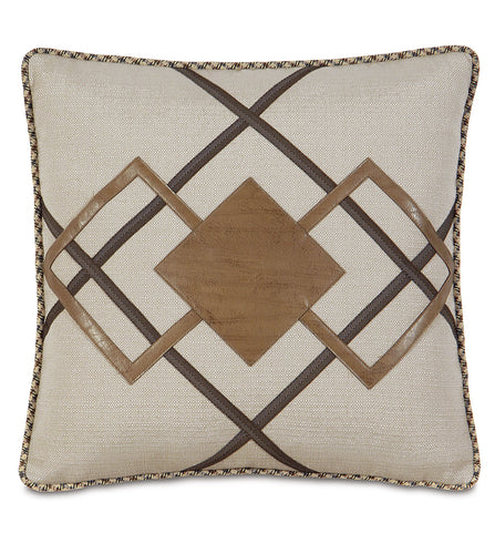Champagne Urban Lodge Geometric Faux Leather Throw Pillow With Cord 20