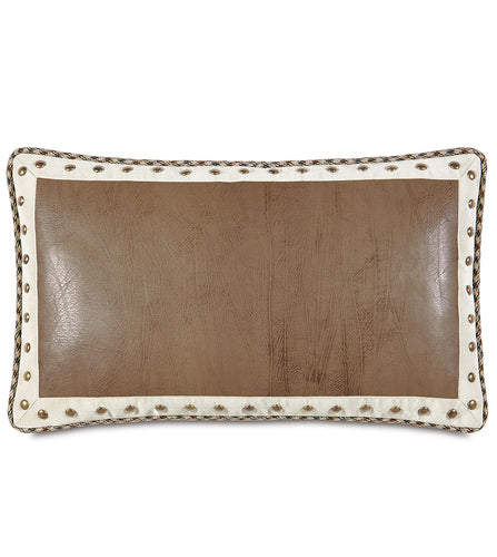 Mountain Tan Nailhead Faux Leather Lumbar Pillow With Cord 13