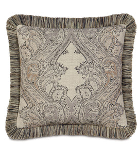 "Aiden Damask Brush Fringe Accent Pillow in Neutral 18""x 18"""