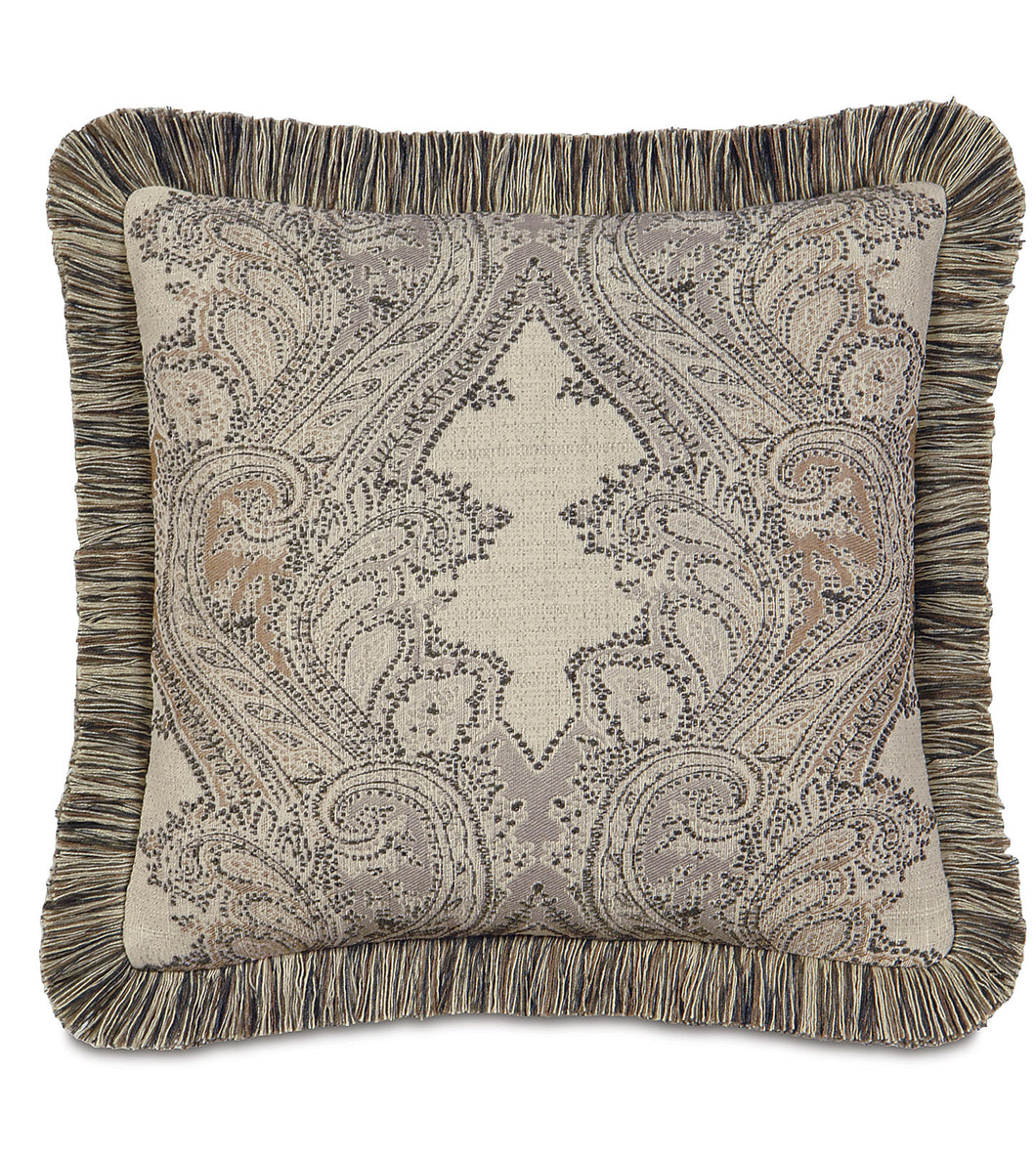 Aiden Damask Brush Fringe Accent Pillow in Neutral 18