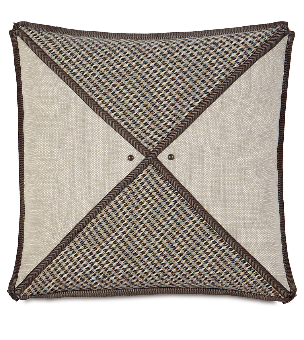 Beige Houndstooth Mountain Lodge Studded Throw Pillow 20